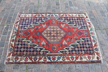 Vintage Persian Mazlaghan Rug 3.5x5