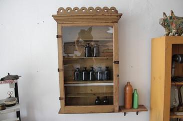 Antique Primitive Hanging Display Cabinet