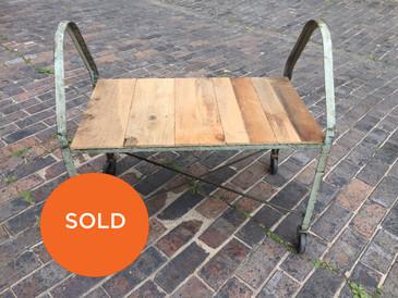Vintage Industrial Metal Cart with Cedar Planks