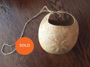 Vintage Hand Carved Gourd - Calabash Basket