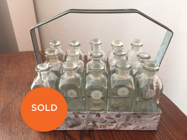Vintage Bottle Set of 15 in Metal Caddy