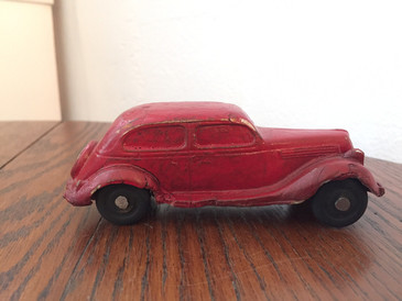 Vintage 1930s Ford Red Rubber Toy Sedan