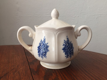 Vintage Ironstone Cobalt and Ivory Sugar Bowl