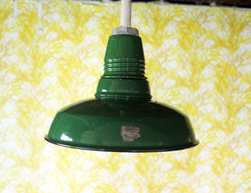 Antique Porcelain Enamel Industrial Light Fixture