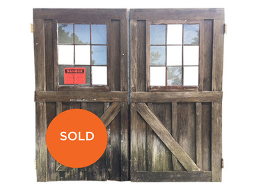 Pair of Vintage Exterior Doors, Divided Light Windows