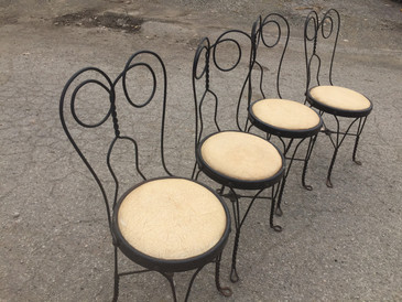 Set of 4 Twisted Metal Ice Cream Parlor Bistro Chairs