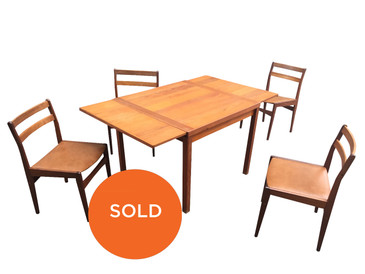 Mid Century Danish Dining Table with Matching Chairs