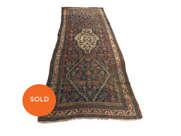 "Antique Persian Runner, 10'6""x3'6"""
