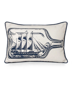 Ship in A Bottle Pillow, Indigo