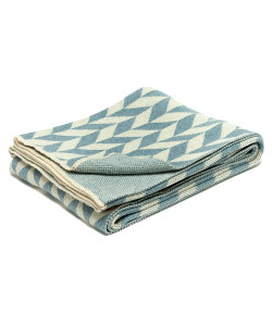Chevron Throw, Milk and Blue Pond