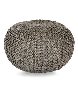 Crochet Jute Pouf, Grey