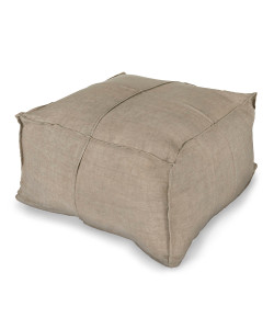 Linen Pouf, Light Grey