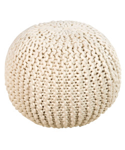 Round Wool Knit Pouf