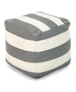 Grey Stripe Pouf