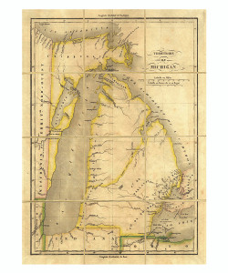 Folded Map: Michigan - Framed