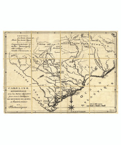 Folded Map: South Carolina, Framed