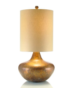 Hammered Copper with Retro Drum Shade Lamp