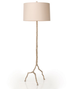 Forest Park Distressed Silver Iron Floor Lamp