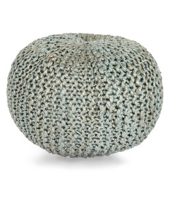 Crochet Jute Pouf, Light Grey