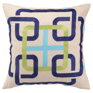 BohoChic Square Link Ultramarine Embroidered Pillow