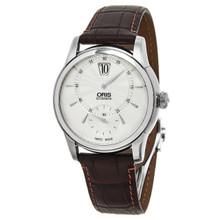 Oris Men's 917 7702 4051 LS 'Artelier' Silver Dial Brown Strap Automatic Watch