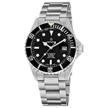 Grovana Men's 'Diver' Black Dial Stainless Steel Watch