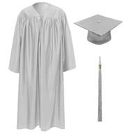 Silver Kinder Cap, Gown & Tassel
