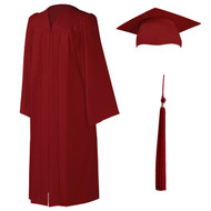 U-Deep Red Cap, Gown & Tassel