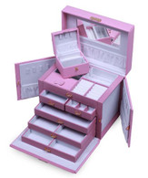 SHINING IMAGE HUGE PINK LEATHER JEWELRY BOX / CASE / STORAGE / ORGANIZER WITH TRAVEL CASE AND LOCK