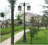 Kendal 8.5 foot high outdoor solar lamp post with two heads and LED Lights black