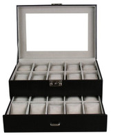 Kendal Watch Case Display Box With Clear Glass Top Holds 20 Watches lock w/ key