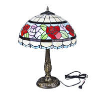 "Tiffany Style 16"" Two Light Rose Table Lamp 906-16T"