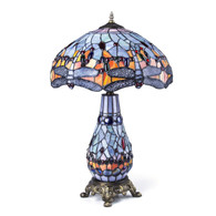 Tiffany Style 26-inch Two Light Dragonfly Table Lamp with Lighed Base