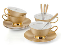 Porcelain Tea Cup and Saucer Coffee Cup Set Golden color with Saucer and Spoon 7 oz set of 4