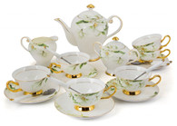 Porcelain Tea Cup and Saucer Coffee Cup Set with Saucer, Spoon, Sugar, Creamer 21 PC TC-MLH