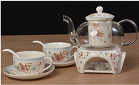 Kendal 27 oz tea maker teapot with a Porcelain warmer and 2 set of Porcelain Cup and Saucer and Spoon SI-MGHY (1-MGHY)