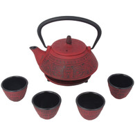 Japanese Cast Iron Pot Tea Set Black w/ Trivet (26 oz 800RD)