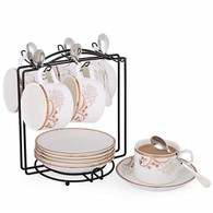 Porcelain Tea Cup and Saucer Coffee Cup Set with Saucer and Spoon 20 pc, Set of 6 SI-TC-HSQN
