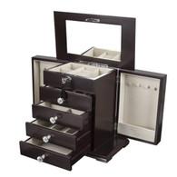 Large Real Natural Hardwood Wooden Jewelry Box Locked w/ a Key (1-ZH-WJC5BK)