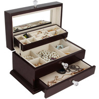 Real Natural Hardwood Wooden Jewelry Box (1-ZH-WJC3BK)