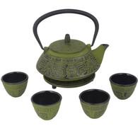 Japanese Cast Iron Pot Tea Set Black w/ Trivet (26 oz 800GN)