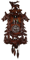 Vivid Large Deer Handcrafted Wood Cuckoo Clock with 4 Dancers Dancing with Music