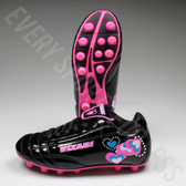 Vizari Retro Hearts Black and Pink Youth Soccer Cleats