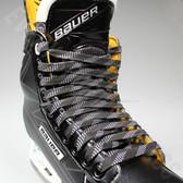 Elite Pro Molded Tip Waxed Hockey Laces - Black / White