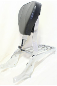 Chrome Suzuki Sissy Bar Set: Sissy Bar Rack, Side Brackets, Luggage Rack, Black Backrest Pad