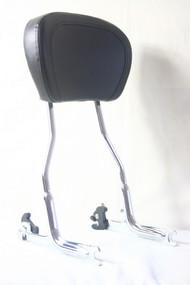 Detachable Chrome Passenger Sissy Bar, Black Backrest Pad