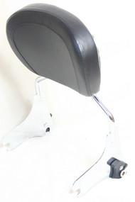 Detachable Chrome Sissy Bar Rack, Black backrest pad
