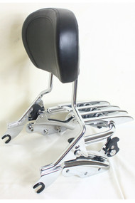 Sissy Bar, Luggage Rack and Docking Hardware Combo: Detachable Chrome Sissy Bar, Detachable Chrome Stealth Luggage Rack, 4-Point Docking Hardware Kit, Black Backrest Pad