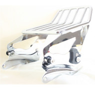 Detachable two up luggage rack and four point docking hardware for touring models
