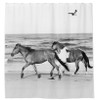 Horses on the Beach Equestrian shower curtain